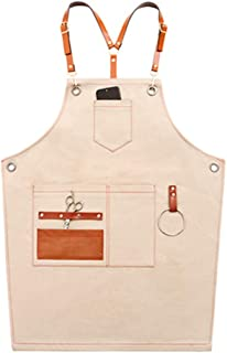 Enerhu Canvas Work Aprons Heavy Duty Work Apron with Pockets Adjustable Strap for Carpenters/Gardener Beige