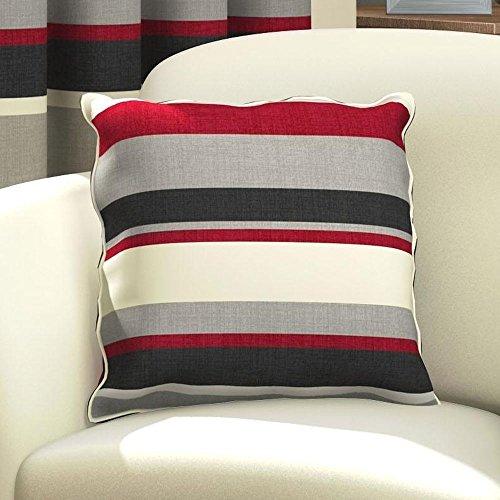 Tony's Textiles Striped Cushion Cover - Red Black Cream (Standard)