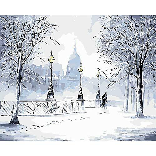 YSNMM Schilderen Door Getallen Diy Paar knuffelen In De Sneeuw Figuur Canvas Bruiloft Decoratie Art Picture Gift