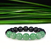 """Personalized Gift 10mm Stretchable Black & Green Aventurine and Matte Onyx Bracelet Round, Smooth 7.5"""" for mens, womens, gf, bf & Adult."""