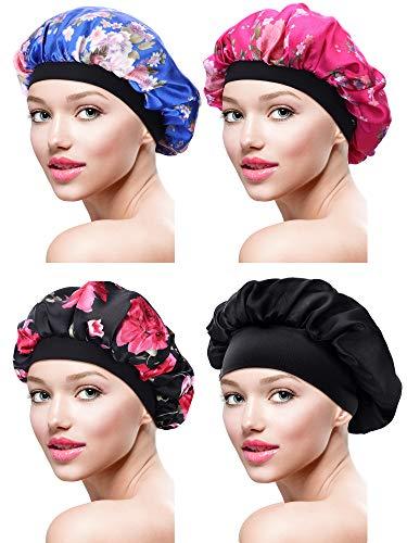 4 Stück Satin Mütze Schlafmütze Weiche Nachtmütze Kopfhaube für Damen Mädchen...