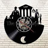 Jiedoud Skala der Gerechtigkeit und Hammer Wandkunst Gesetz Barrister Clock Anwaltskanzlei Vinyl Record Wanduhr Gerichtssaal Uhr Geschenk für AnwaltNo Led
