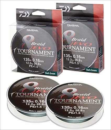 2 Stk. Daiwa Tournament 8 Braid EVO 0.14mm, 10,2kg/22,4lbs 300m dunkelgrün (Doppelpack)