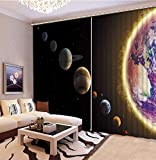 3D Printed Blackout Curtainsdigital Printing Design Distinctive Vertical Curtains, Space Planet Print Simple Stylish Eyelet Curtains Breathable Insulation ,For Living Room Bedroom Kid Room Castle Hom