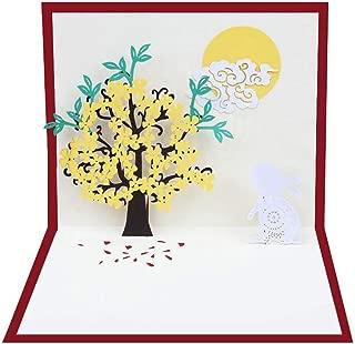 3D Pop Up Rabbit Flowers Tree Greeting Card Mid Autumn Festival Cards Handmade Birthday Valentine Christmas Wedding Invitation Cards with Envelope