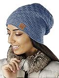 Mikos* Gorro de Invierno de Forro Polar   Crochet Las Mujeres del Invierno   Beanie Casquillos Calientes (654) (Jeans)