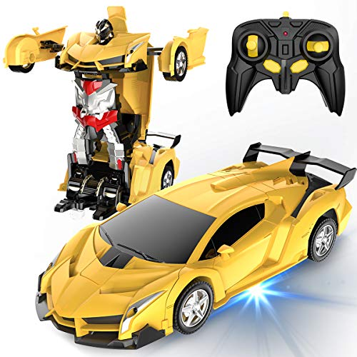 Desuccus Remote Control Car, Transform Robot RC Car for Kids, 2.4Ghz 1:18 Scale Model Racing Car with One-Button Deformation, 360°Drifting, Transforming Robot Car Toy Gift for Boys and Girls