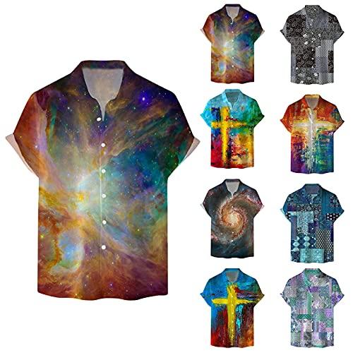 Dasongff Camisa para hombre, blusa de verano, multicolor, manga corta, camisa hawaiana con botones, para vacaciones, ocio, viajes, playa, flores, camisas informales