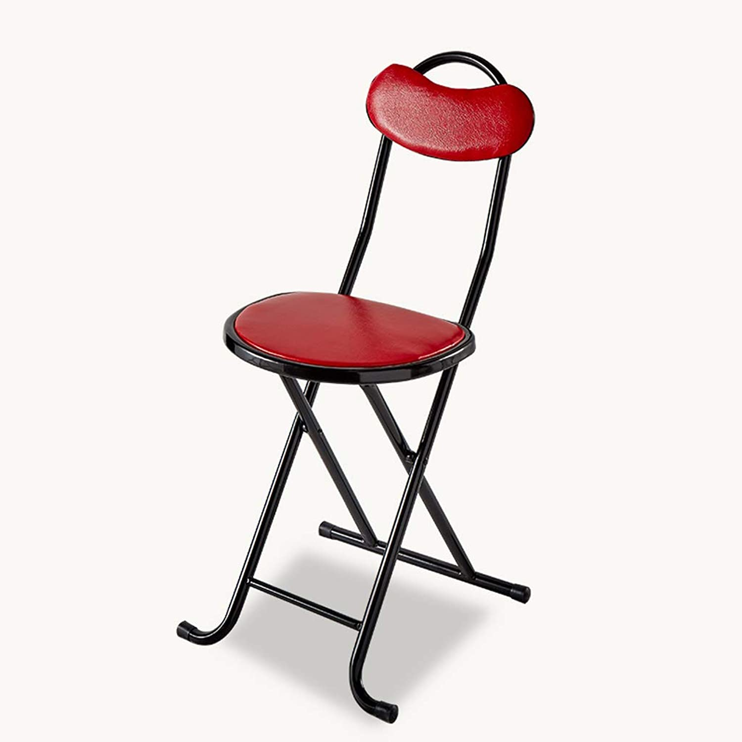 CQ Simple Folding Chair Home Portable Dining Chair Small Bench Dormitory Student Chair Folding Stool Round Stool (color   Red)