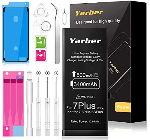 Batería para iPhone 7 Plus, Yarber 3400mAh Batería Reemplazo con 500mAh más de Capacidad Que la batería Original y con Kits de Herramientas de reparación, Cinta Adhesiva (Solo para iP7P)