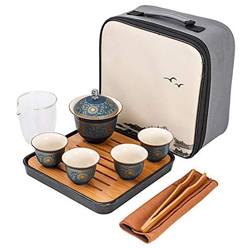 XNJHMS Portable Tea Set Include 1 Teapot 4 Teacups Beautiful and Easy Teapot Kettle Chinese Travel Ceramic Portable Tea Set Gaiwan
