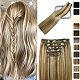 Clip in Hair Extensions Human Hair Balayage Ombre Golden Brown Mixed With Platium Blonde Clip In Human Hair Extensions 16Inch Clips Thick Full Head Fine Hair 120 Gram 7PCS