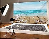 Seashells Telón de fondo de vinilo para fotógrafos de 12 x 10 pies con conchas, sol, vacaciones, playa, tema de fondo para bebé, cumpleaños, boda, graduación, decoración del hogar
