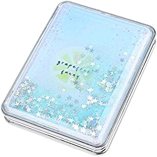 Makeup Mirror, Portable Double-Sided Folding Vanity Mirror, Carry Compact Compact Pocket Mirror, Sparkling Sand, Rectangular Sky Blue Detazhi