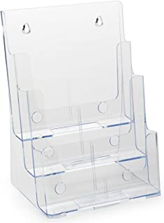 Case of 4, 3-Tier Magazine Holders for Tabletop Use, 3 Tiers Display 8.5 x 11 Catalogs, Injection Molded Plastic Literature Racks with Slight Bluish Tint