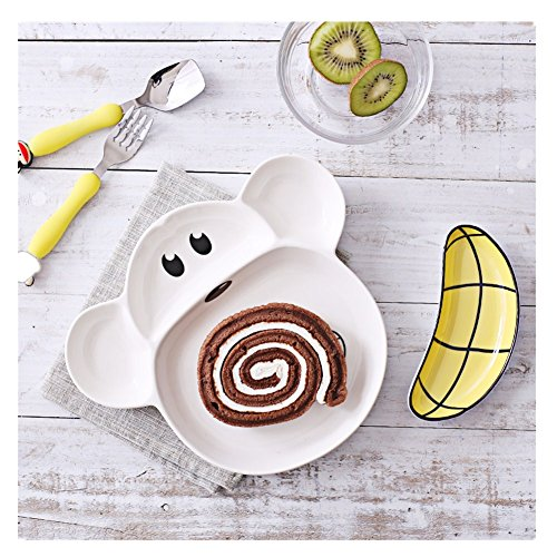Kid's Cartoon Ceramic Tableware Separate Tray Breakfast Plate Childrens Bakeware (Monkey)