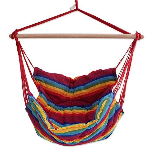NOVICA Rainbow Striped 1 Person Brazilian Cotton Hammock Swing Chair with Eucalyptus Wood Spreader Bar, Jungle Rainbow' (Single)