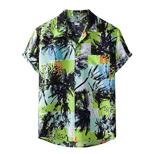 Hawaiihemd Herren 3D Blumen Gedruckt Boho Kurzarm Shirts Freizeit Hemden Funky Star Muster Hemd Strandhemd Urlaub Kleidung Slim-Fit Kurzarm-Hemd Asymmetrisch Gedruckt Freizeithemd Strandurlaub Hemd