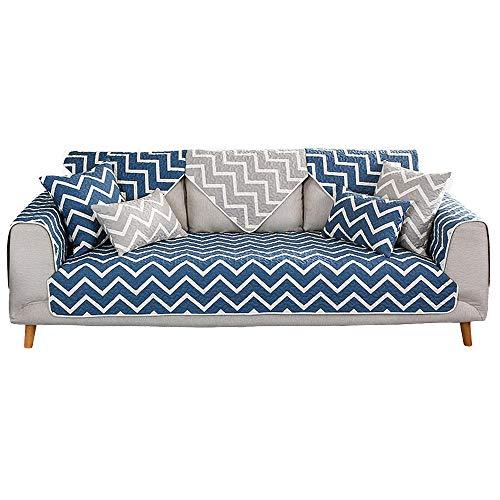YUTJK Vågmönster bomull tryckt soffmatta, stol loveseat soffa soffa soffa överdrag bil soffa säng säte överdrag tyg, blå_90 × 160 cm