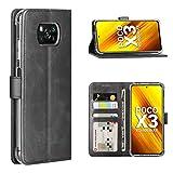 Cresee für Xiaomi Poco X3 NFC/Poco X3 Pro Hülle, PU Leder Handyhülle mit 3 Kartenfächer, Schutzhülle Hülle Tasche Magnetverschluss Flip Cover Stoßfest für Poco X3 / X3 Pro (Schwarz)
