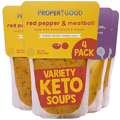 Keto Gluten Free Soup Variety by Proper Good, Chicken & Mushroom, Red Pepper Meatball, Hearty, Healthy, Shelf Stable, No Refrigeration Required,12 Ounce Pack of 4