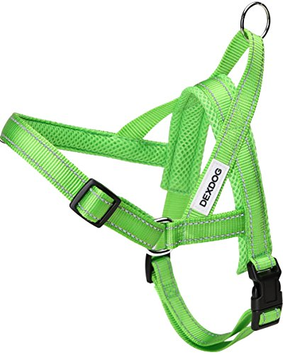DEXDOG #1 Best Dog Harness — EZHarness On/Off Walk in Seconds! [Green Medium M] — Easy Quicker Step in Dog Harness Vest — Puppy No Pull Reflective Mesh Handle Adjustable Training