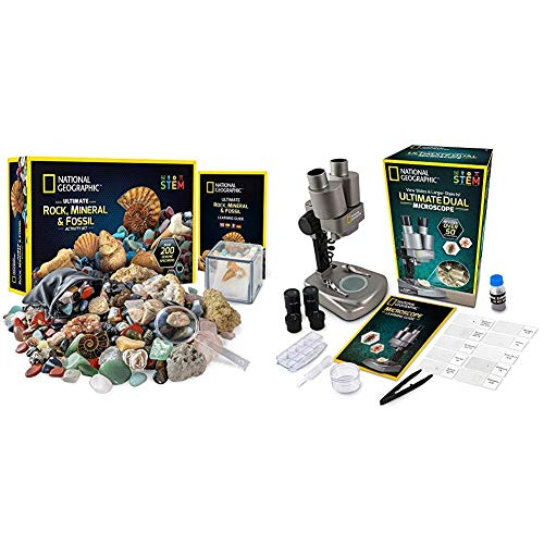 NATIONAL GEOGRAPHIC Rock Collector's Bundle - Includes Over 200 Rock, Mineral, and Fossil Specimens Plus a Microscope Kit