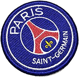 TIFR007T Paris Saint Germain PSG Shield Football Soccer Embroidered Patch Iron or Sew Size 3.15 × 3.15 in
