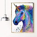 hetingyue Sin Marco Colorido Unicornio Acuarela Arte impresión Lienzo Cartel Pared Imagen Dormitorio decoración del hogar decoración 30x45 cm