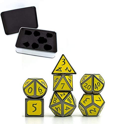Wusuowei 7 dados de metal con números romanos para juego D&D metálico con caja de metal