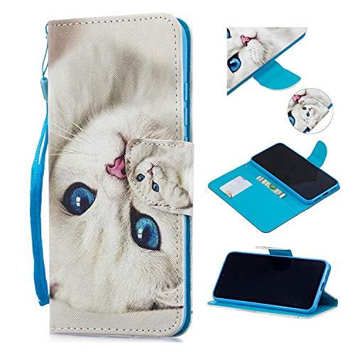 Qiaogle Cover per Motorola Moto X4 - PU Leather in Pelle Basamento Protettiva Custodia per Motorola Moto X4 - HX115 / White Cat