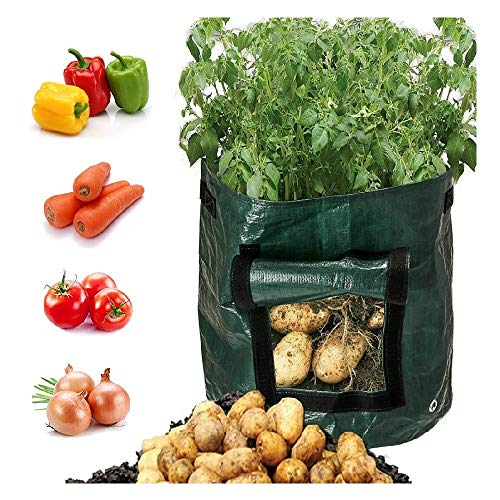 Preisvergleich Produktbild Snlaevx Kartoffel Pflanzbeutel,  DIY PE Pflanztasche Pflanze Pflanzbehälter Tasche Verdicken Pflanzsack 10 Gallonen mit Tür Garten Blumentopf für Kartoffeln,  Karotten,  Tomaten,  etc. (Grün)