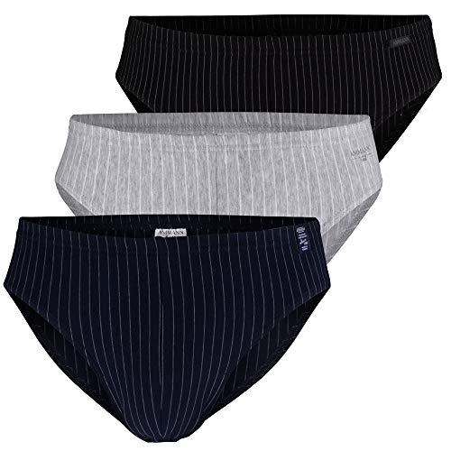 Ammann Herren Boxershorts ohne Eingriff 3er Pack (L, Slips schwarz | Navy | grau Melange)