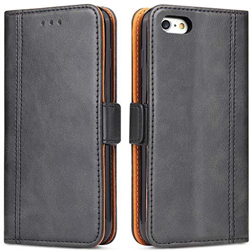 Bozon iPhone 6 Plus Hülle, iPhone 6S Plus Leder Tasche Handyhülle für iPhone 6 Plus/iPhone 6S Plus Schutzhülle Flip Wallet mit Ständer und Kartenfächer/Magnetverschluss (Schwarz)