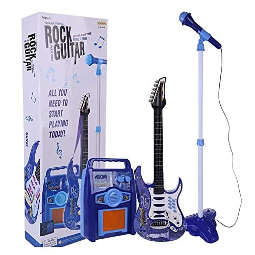 Conjunto de micrófono de karaoke de guitarra para niños, conjunto de amplificadores, 6 cuerdas para niños karaoke máquina de guitarra eléctrica juego, mejor regalo para 4-6 niños niñas principiantes