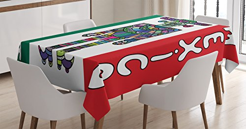 Ambesonne Mexican Tablecloth, Mexican Robot with Sombrero and Poncho on Mexican Flag Colored Background Print, Rectangular Table Cover for Dining Room Kitchen Decor, 52' X 70', Green Vermilion