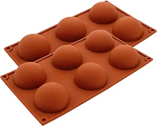 Warmbuy 6 Cavities Large Half Circle Silicone Delicate Chocolate Desserts, Ice Cream Bombes, Cakes, Soap Making Mold, 2 Pack