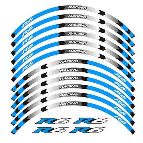 8 Color para Yamaha YZF R6 Motorycle CALCADAS DE Ruedas 17inch Vinilas Reflectantes Pegatinas Rim Stripes YZF R6 Motorbike YZF R6 (Color : A Blue)