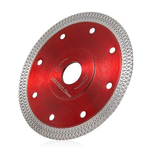 Disco diamantado de 115 mm/125 mm con malla Turbo para cemento armado, granito, piedra natural, ladrillos, corte en seco (rojo 125 mm)