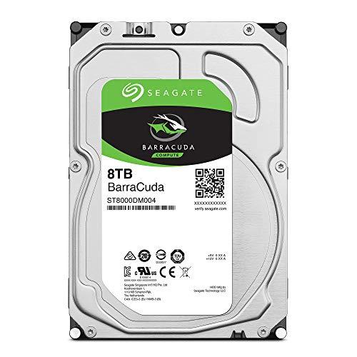 Seagate BarraCuda, interne Festplatte 8 TB HDD, 3.5 Zoll, 5400 U/Min, 256 MB Cache, SATA 6 Gb/s, silber, Modellnr.: ST8000DM004