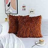 Kevin Textile Retro Decorative Long Fur Throw Pillow Case Cushion Cover Pillowcase for Sofa, Set of 2, 20inch (50cm), Meerkat Brown
