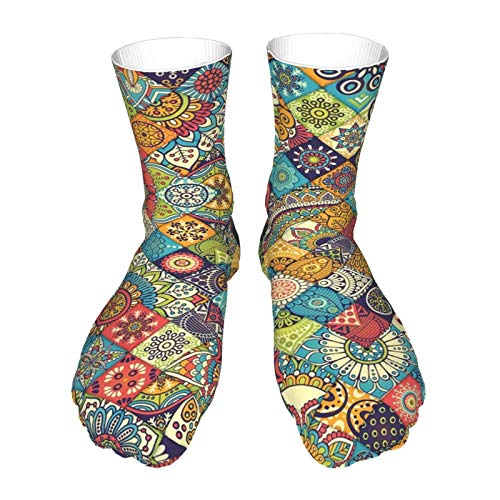 Thick Novelty Socks 40cm Bohemian Geometric Floral Folk Art Casual 3D Athletic Crew Socks for Mens Womens
