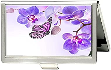 TuMeimei Purple Butterfly on The Branches Design Business Card Holder Personlized Stainless Steel Professional Business Card Holder