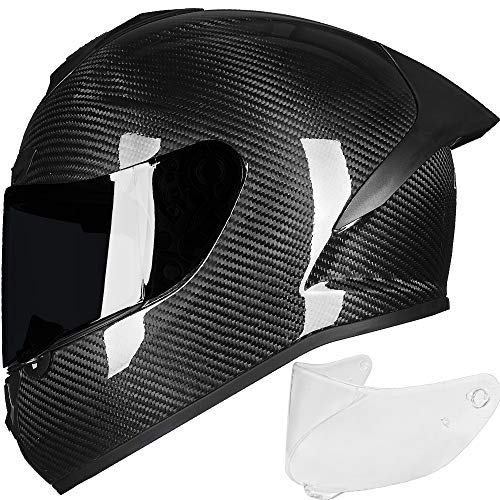 ILM Motorcycle Full Face Helmet Carbon Fiber Lightweight 2 Visors for Professional Racing Motocross DOT Approved (L, Carbon Fiber)