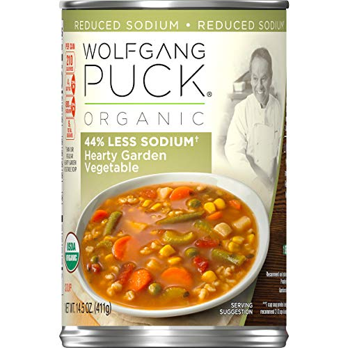 Wolfgang Puck Organic 44% Less Sodium Hearty Garden Vegetable Soup, 14.5 oz. Can (Pack of 12)