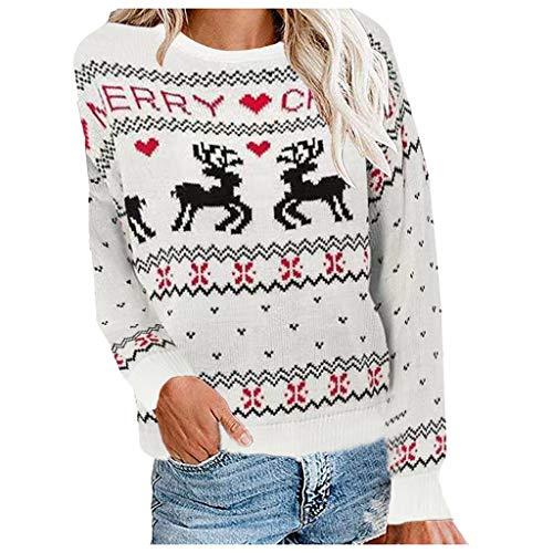 ZODOF Jersey Reno Navidad Mujer Punto Floral Imprimir Cuello Redondo Blusa de Manga Larga con Estampado de Alce...