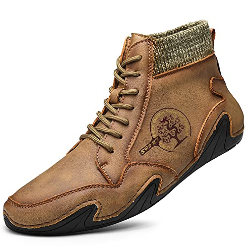 Men's Short Boots, Breathable British Style Low-top Boots, Mid-Cut Leather Men's Tooling Boots,US 11 Tan,