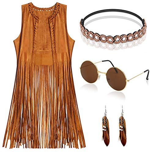EVISWIY Hippie Costumes Clothes for Women 60s 70s Outfits Women Hippie Vest with Fringe Sleeveless CardiganFaux Seude Tassels Vest Set (Large) Beige