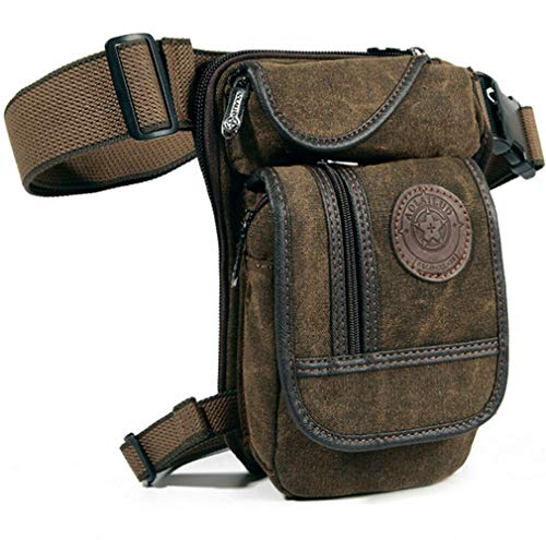 KPYWZER Thigh Drop Leg Bag for Men Fanny Pack Tactical Military Motorcycle Rider Multi-pocket Waist Bags Mens Travel Hiking Climbing Cycling Outdoors (Coffee)