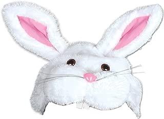 Fuzzy Plush White & Pink Easter Bunny Rabbit Hat